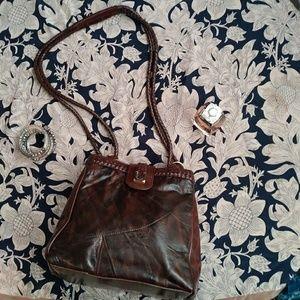 Crossbody Bag Brown Faux Leather Vintage Vegan